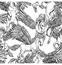 Monochrome seamless pattern of winged vector