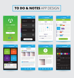 notes mobile apps design vector image vector image