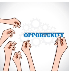 opportunity word in hand vector image vector image