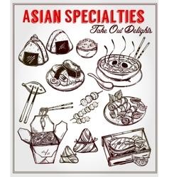 Oriental foods set vector