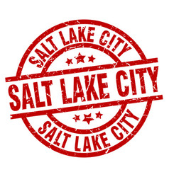 Salt lake city red round grunge stamp vector