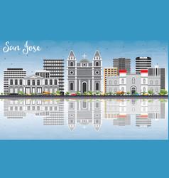 San jose skyline with gray buildings blue sky and vector