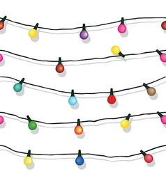 Seamless string of christmas lights on garland vec vector