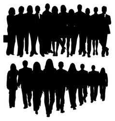 Silhouette of a huge crowd of business people vector