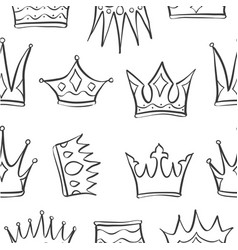Sketch crown of pattern style vector