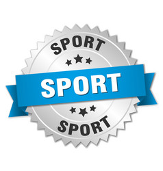 Sport round isolated silver badge vector