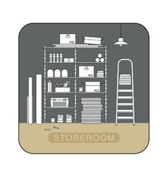 Storeroom interior with metal storage vector