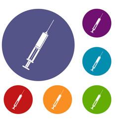 Syringe with liquid icons set vector
