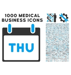 Thursday calendar page icon with 1000 medical vector