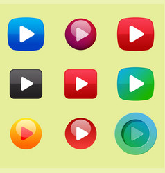 Ui interface button play media internet website vector