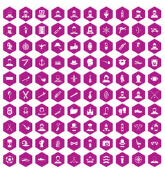 100 beard icons hexagon violet vector