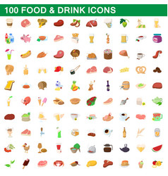100 food and drink icons set cartoon style vector