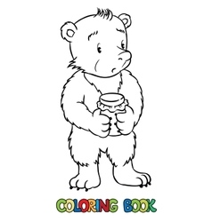 Coloring book of lttle funny bear vector
