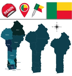 Benin map with named divisions vector