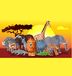 cartoon african fauna template vector image