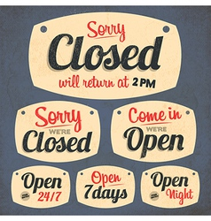 172retro vintage open closed sign collection vector