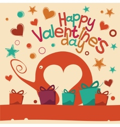 Happy Valentines Day Greeting Elephant vector image