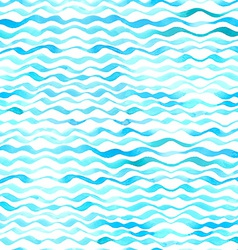 Watercolor seamless pattern of waves vector image