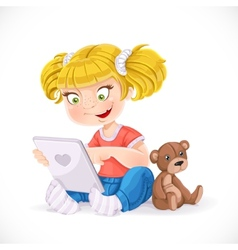 Beautiful little girl sitting on the floor with a vector image