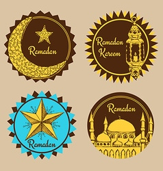 Sketch ramadan emblems vector