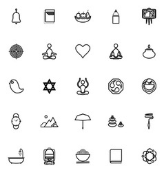 Zen society line icons on white background vector