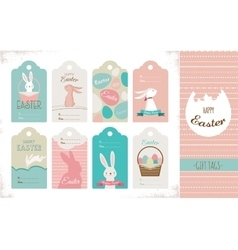 Easter tag collection with bunnies and easter eggs vector