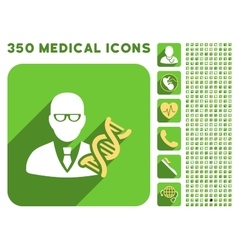 Genetic engineer icon and medical longshadow icon vector