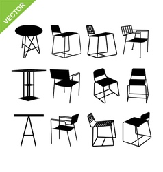 Chair and table silhouettes vector
