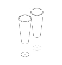 Two glasses icon isometric 3d style vector