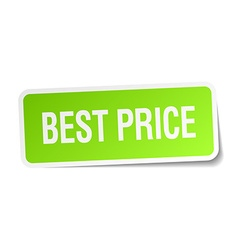 Best price green square sticker on white vector