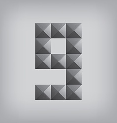 9 number nine alphabet geometric icon and sign vector
