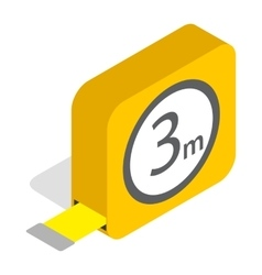 Tape measure roulette icon isometric 3d style vector