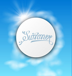Abstract card with summer text sky cloudy vector