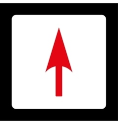 Arrow axis y flat red and white colors rounded vector