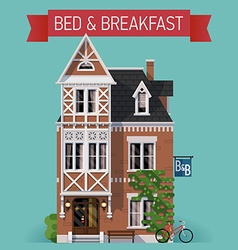 Bed and breakfast flat design vector