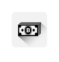 bitcoin currency note icon modern web money vector image
