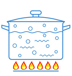boiling water in pan vector image