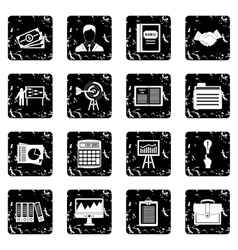 Business plan icons set grunge style vector