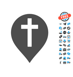 christian cross marker icon with free bonus vector image vector image