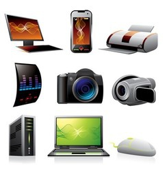 Computers and electronics icons vector image vector image