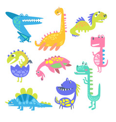 cute funny dinosaurs collection of prehistoric vector image