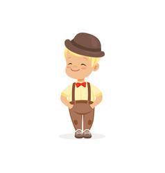 cute little boy in bowler hat young gentleman vector image vector image
