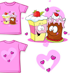 Cute shirt with funny cake - vector