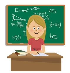 Female teacher sitting at table in classroom vector