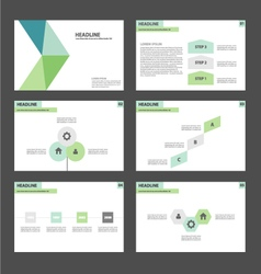 Green blue presentation templates Infographic set vector image vector image