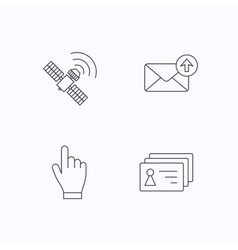 Hand pointer contacts and gps satellite icons vector image