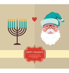 happy holidays jewish holiday menorah and Xmas vector image vector image