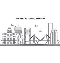 Massachusetts boston architecture line skyline vector