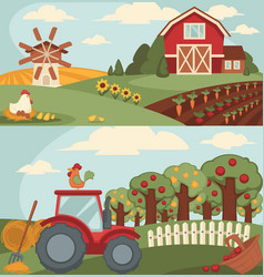 nice fram with long vegetable beds and big orchard vector image vector image