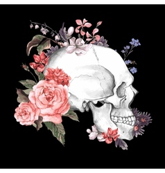 Roses and Skull Day of The Dead vector image vector image